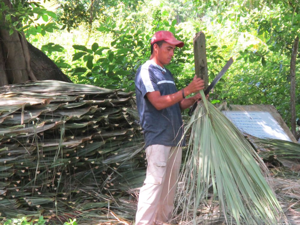 Building in nicaragua palm fronds for the thatch roof - How to make a thatched roof ...