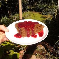 Gluten-Free Coconut Cacao Almond Flour Cake with Spicy Blackberry Compote