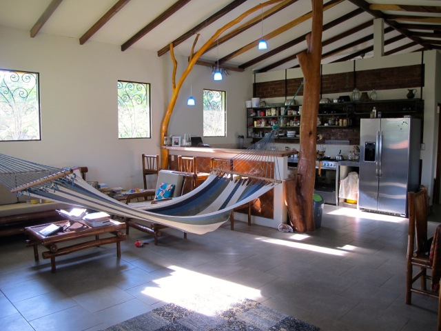 The living room with our indoor hammock.